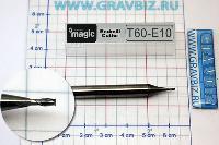 T60-E10 Микро фреза концевая по металлу прямоугольная твердосплавная для фрезера, гравера, станка ЧПУ