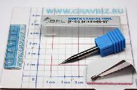 Микрофреза концевая по металлу, спиральная 35°, четырехзаходная 4зуба , торец Ø0,5мм, хвостовик 50хØ4мм, твердость HRC55, износостойкое покрытие TiAlN,
